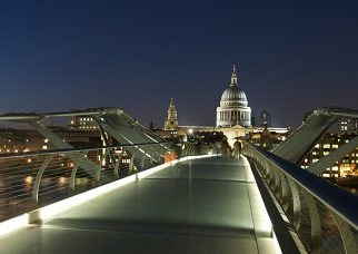 St.Pauls Cathedral, the Thames and the Millennium Bridge at dusk